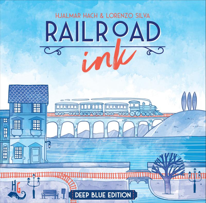 настольная игра Railroad Ink: Deep Blue Edition Железнодорожные чернила: Deep Blue Edition